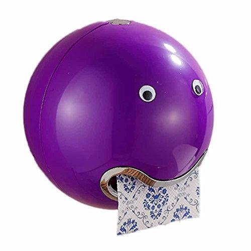 HKFV Ball Shaped Nette Emoji Bad Wc Wasserdichte Toilettenpapier Box Rolle Sauger Toilettenpapier Box Schublade Gewebebox Halter Spitze Toilettenpapierbox (Lila)