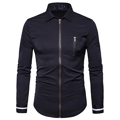 Yalatan Men's Fashion Slim Zipper Shirts Turn-down Collar Long Sleeve Blouse Casual Dress Shirts S-2XL black