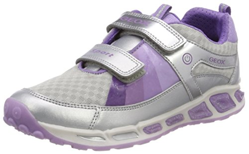Geox Mädchen J Shuttle Girl B Sneaker, Silber (Silver/Lilac), 24 EU