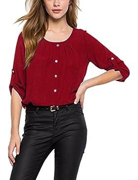 Ularma Las Mujeres casual mangas largas botón de gasa o-escote de gasa camisa blusa casual Tops blusa