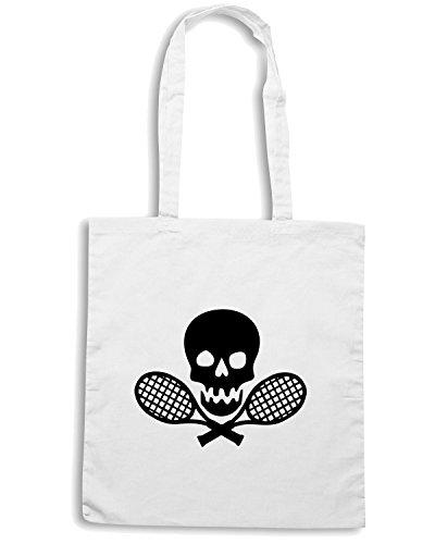 T-Shirtshock - Borsa Shopping OLDENG00265 tennis skull Bianco