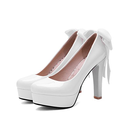 YE Damen Blockabsatz High Heels Plateau Lack Leder Pumps mit Schleife Rund Geschlossen Glitzer Elegant Party Schuhe Weiß