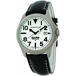 Momentum Atlas Men's Quartz Watch with White Dial Analogue Display and Black Leather Strap 1M-SP00W2B