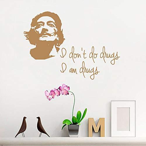 vador Dali Porträt von Dali Zitat Ich mache keine Drogen Ich bin Drogen Studio Kunstschule Vinyl Aufkleber Wohnkultur 42 * 59 cm ()