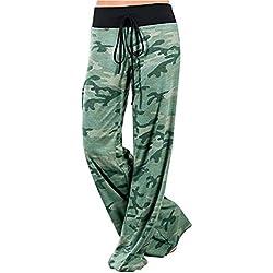 La Mujer Casual Vintage Largo Amplia Pantalones Pantalones De Lunares Green XS
