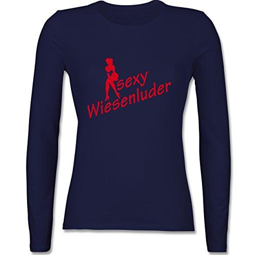Oktoberfest Damen - Sexy Wiesn Luder sitzend - tailliertes Longsleeve / langärmeliges T-Shirt für Damen Navy Blau