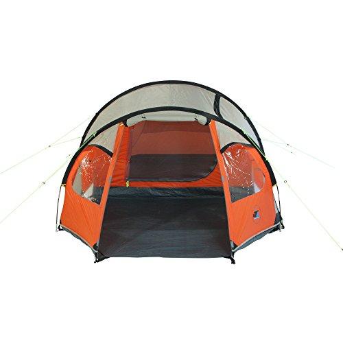 10T Mandiga 3 Orange - Tunnelzelt für 3 Personen, Campingzelt mit großer Schlafkabine, wasserdichtes Familienzelt mit 5000mm, Zelt mit 2 Eingängen und 2 Fenstern, Festivalzelt mit Dauerbelüftung, 3 Mann Zelt mit Tragetasche, Zeltheringe und Zeltgestänge - 7