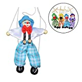 1 Pcs Pull String Puppet Wooden Marionette Doll Joint 25cm Activity Doll Clown Kids Toy Novelty Creative Toy Color Random