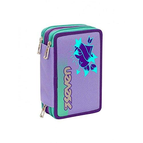 Astuccio 3 zip scuola completo seven color girl bambina colori viola e verde