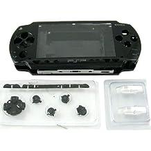 Universelles Ersatz-Gehäuse, mit Ersatzknöpfen, kompatibel mit Sony PSP 1000 Konsole, Schwarz