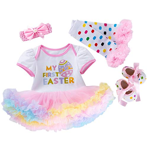 IZHH Neugeborenes Baby Mädchen Vier Stück Anzug, Prinzessin Ostereier Brief drucken kurzärmelige Tutu Kleid Outfits Set (3-18M) Ostern (Weiß,66)