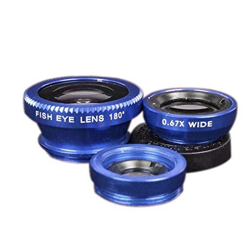 Windy5 3 in 1 Handy-Objektiven Fisch-Augen-Weitwinkel-Makro-Kamera-Objektiv-Set Universal Clip Foto-Zubehör (2 Blaue Fisch-auge)