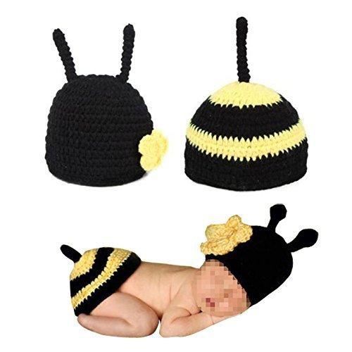 Romote Baby-Foto-Prop Outfit Kleidung stricken häkeln Fotografie Baby Handgemachte Kostüm-Hut-Kappe Unisex-Mädchen-Jungen-Set (Biene)