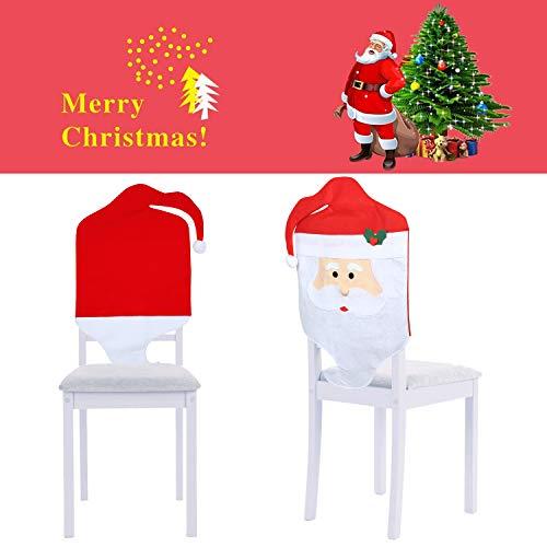 Mbuynow Fundas Decorativas Navide?os para sillas con Respaldo para la Cena y Fiesta de Nochebuena (2 pcs)
