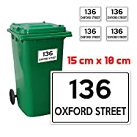 4 x Personalised Custom Wheelie Bin Number Stickers with Waterproof(with House Number & Street Name (4 Decals-150 x 100 mm) # PBN01 Stickers Limited