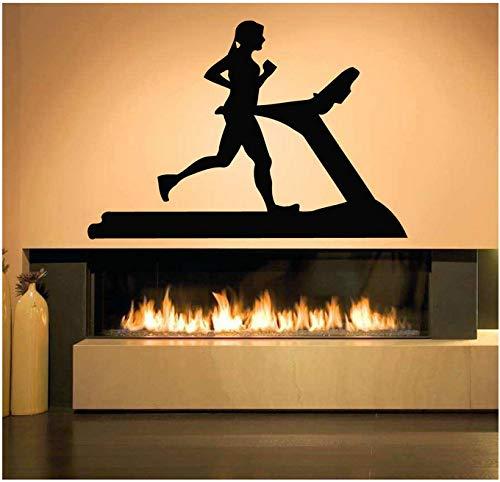 YXBB Wandtattoos Sport Kunst Wandaufkleber Schlafzimmer Dekoration Wand Wand Zimmer Fitness Laufband Übung Mädchen Muster selbstklebend 42x61cm -
