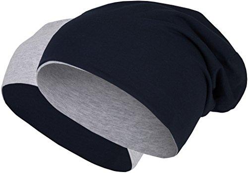 2 in 1 Wendemütze - Reversible Slouch Long Beanie Jersey Baumwolle elastisch Unisex Herren Damen Mütze Heather in 24 (8) (Light Grey/Dark Blue) (Blue Beanie Light)