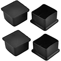 """sourcing map Rubber Square Shaped Furniture Table Desk Foot End Cap Cover 1.57""""x1.57"""" (40x40mm) 4pcs Black"""