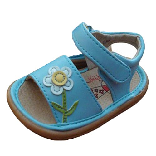 Ohmais Enfants Chaussure bebe fille premier pas Chaussure premier pas bébé sandale en cuir souple Bleu