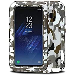 ZZC Cas en métal pour Samsung Galaxy S8 armée Camouflage Armure Antichoc défenseur Preuve Couverture arrière Cas de téléphone,Desert