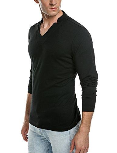 Aulei Herren T-shirt langarm Hemd Langarmshirt männer V-Ausschnitt Langarmhemd longsleeve Shirt Schwarz