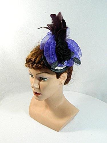 Fascinator Lila Crin Damenhut Kopfschmuck Headpiece Burlesque Gatsby 20er Haarschmuck