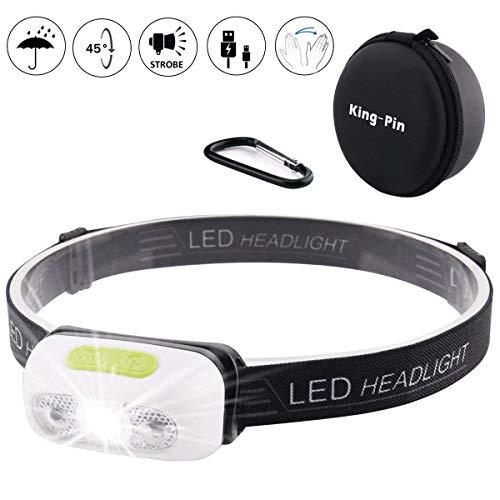 King-Pin stirn1 Kopflampe USB Wiederaufladbare Wasserdicht Leichtgewichts Mini 7 Leuchtmodi Perfekt fürs Laufen Jogging Campen Radfahren (LED Stirnlampe Sensor Induktion...