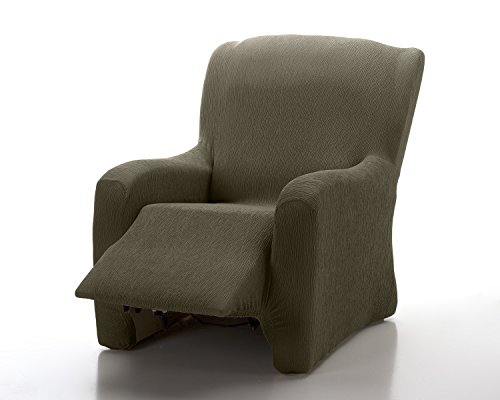 Textilhome - copripoltrona relax completo marian elasticizzato, taglia 1 posti - 70 a 100cm. colour marrone