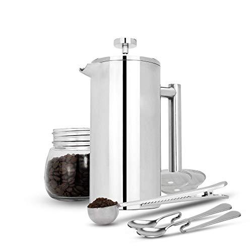 Maison & White 350ml Cafetería francesa de prensa | Prensa de café de acero inoxidable | GRATIS filtros adicionales / cucharas de medir