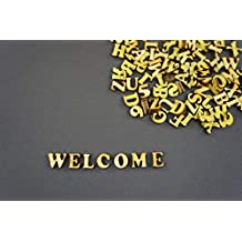 250 + Pequeñas de madera (1 cm) adhesivo letras y dígitos Craft Alphabet decoración