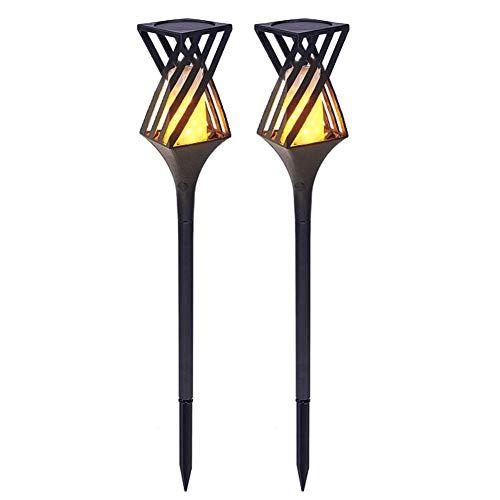 WXQP Solar Flame Lights, 96 LED IP65 wasserdichte Outdoor-Taschenlampe Auto On/Off-Landschaftsbeleuchtung für Gartenwege Yard Lawn 2-TLG