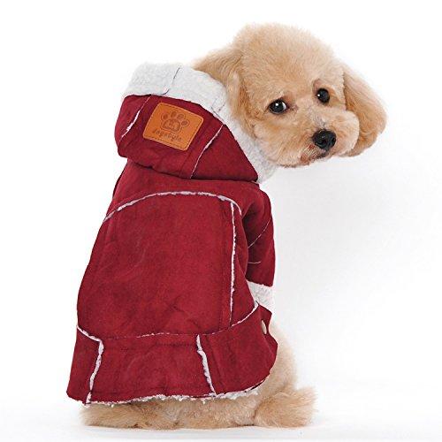 Winter Kleidung Berber Fleece Hoodie Haustier Kleidung Jacke Hundemantel Bekleidung Zubehör Wein S (Berber-kleidung)