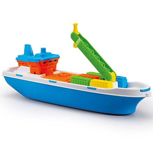 Unbekannt Containerschiff 40 cm mit Kran und Container für Strand Sandkasten oder Pool • Sand Spielzeug Cargo Schiff Boot Wasserspielzeug Strandspielzeug