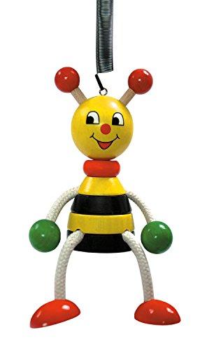 Hess Holzspielzeug 14703 Schwingtier Biene aus Holz, Circa 11 cm