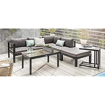 Amazon.de: Bomey Aluminium Eck-Lounge Set I Gartenmöbel Set Lyon 4 ...