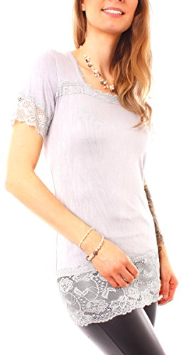 Easy Young Fashion - T-shirt - Femme gris clair