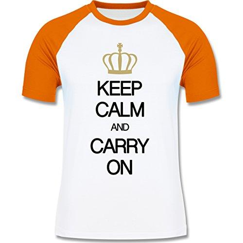 Shirtracer Keep Calm - Keep Calm and Carry On - Herren Baseball Shirt Weiß/Orange
