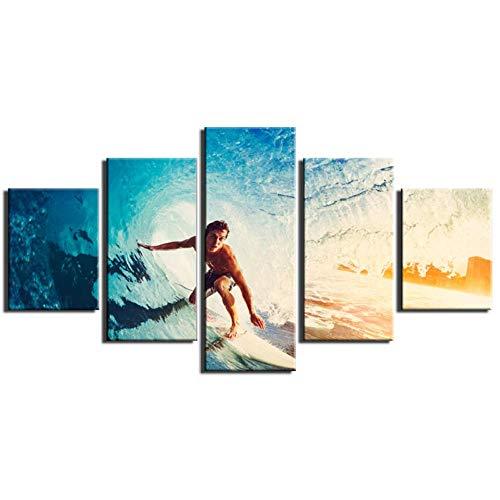 Wslin Leinwanddrucke 5 Panels Leinwand Kunst Malerei Print Modern Surfen Bilder Kunstgalerie Für Schlafzimmer Wand Dekor Gewickelt Drucke Auf Leinwand 200X100Cm -