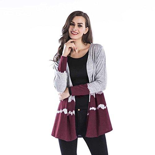 TEBAISE Herbst-Heiße Verkaufs-Frauen Nehmen Druck-Feiertags-Elegante Weiche Steigung-Oberseiten-beiläufige kragenlose Mantel-Webart-Wolljacken-Überbrücker ab(Weinrot,EU-40/CN-L)