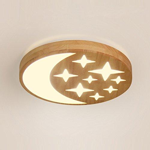 24W Fernbedienung Dimmbar Modern Design Leuchten Deckenleuchte Gummi Holz Deckenleuchten LED Runde Deckenlampe Acryl Lampenschirme fur Schlafzimmer Lampe Ø380MM IP20 220V 3000K-6000K (Syn-gummi)