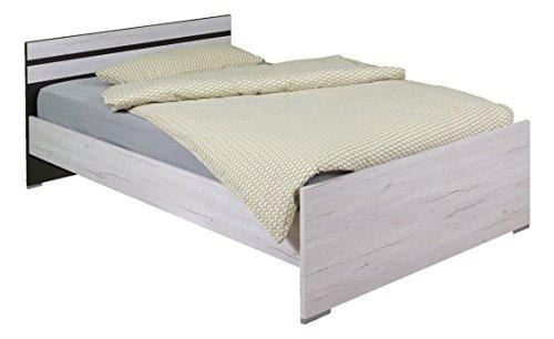 Wimex Bett/Doppelbett Cariba, (B/H/T) 72 x 205 x 96 cm, Weißeiche/Absetzung Lavafarbig