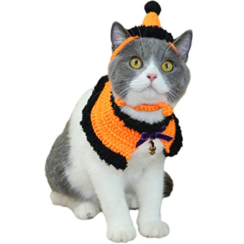 Haustier Anzieh Katze Gefälschter Kragen Haustier Hut Halloween Umhang Lätzchen Halloween Hut Teddy Katze Hut Britisch Kurz Schönheit Kurzer Hund Hut Schal-Orange (größe : Xs)