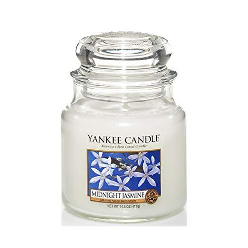 Yankee Candle mittelgroße Duftkerze im Glas, Midnight Jasmine, Brenndauer bis zu 75Stunden