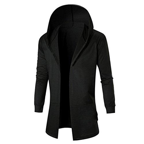 Herren Mantel,Honestyi Herren Herbst Winter Casual Cardigan Sweatshirt Kapuzenjacke Mantel (XL, Schwarz)