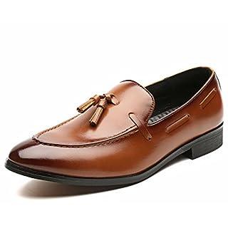 Jingkeke Men's Business Oxfords Casual Style Die britische Quaste Dekor modische Spitze Zehe Loafer Schuhe auffällig (Color : Braun, Größe : 40 EU)