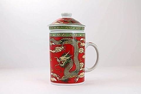 Dragon Phoenix Chinese Three Piece Mug. (Red)