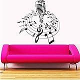 Mhdxmp Neue Kreative MusikWandtattoo Mikrofon Mic Melody Notes Song Schlafzimmer KunstWandaufkleberCd Shop Home Dekoration57 * 64 Cm