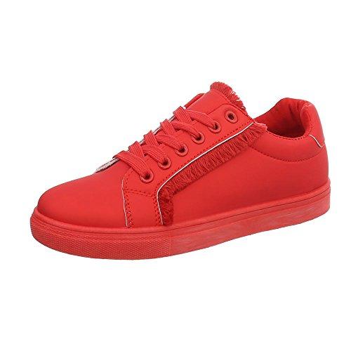 Ital-Design Sneakers Low Damen-Schuhe Schnürsenkel Freizeitschuhe Rot, Gr 37, G-91-