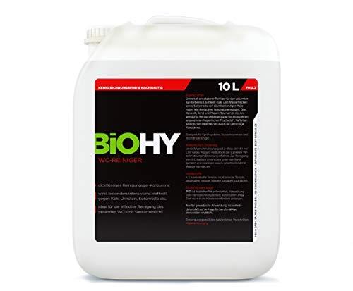 BIOHY WC-Reiniger 10 Liter Kanister - Kalk-Entferner, Urinsteinlöser, Konzentrat - dickflüssiges Reinigungsgel - Professionelle Bioreiniger – Bio Reinigungsmittel