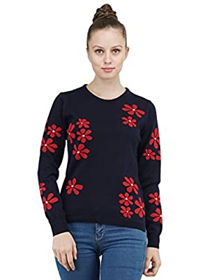 Kalt Women's Round Neck Full Sleeves Intarsia Cotton Sweater